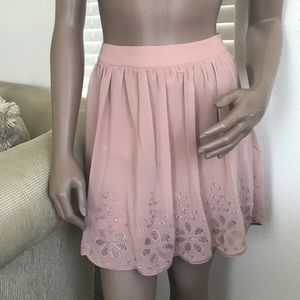 F21 skirt large blush pink with embroidered bottom